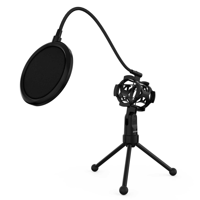 Ammoon мини настольный микрофон штатив Стенд с подвесом держатель микрофона поп-фильтр для студийной записи в чате пение встреча