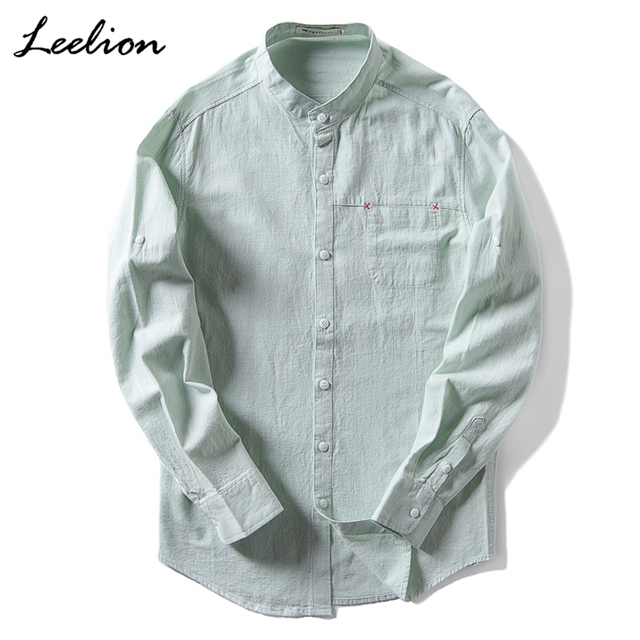 929a2cf31eb LeeLion 2018 Mandarin Collar Linen Shirts Men Cotton Spring Spring Long Sleeve  Slim Fit Fashion Retro Solid Men s Dress Shirt