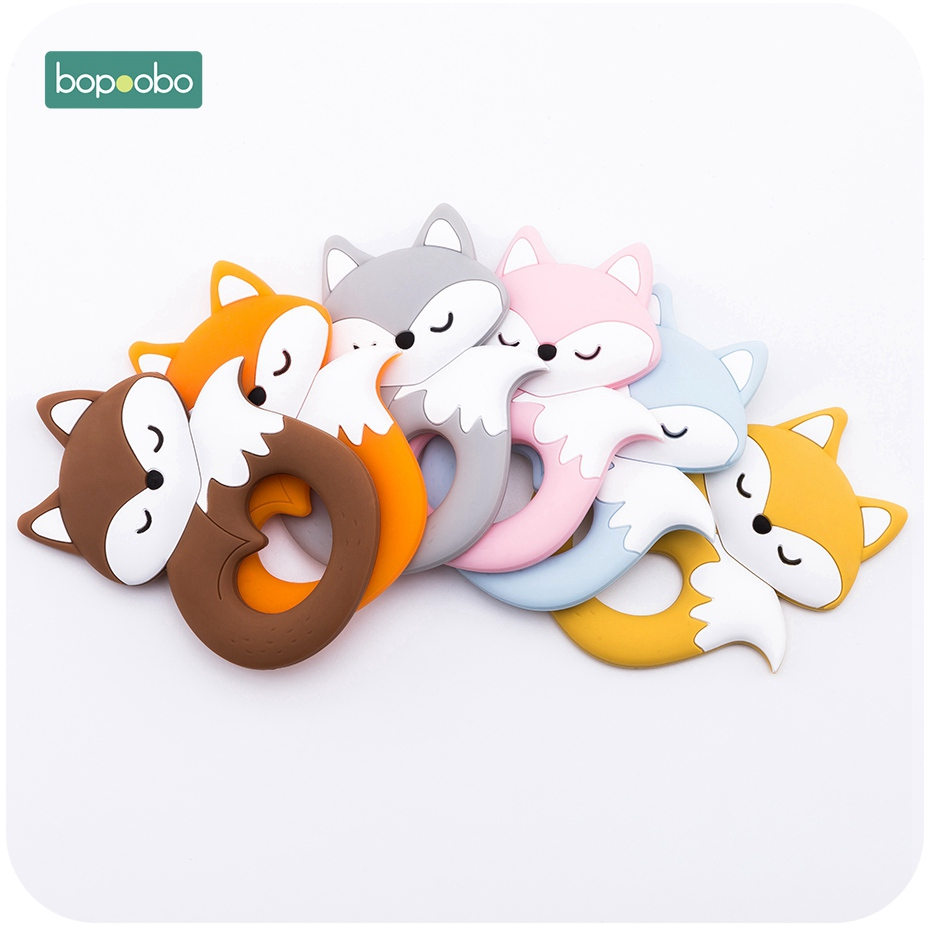 Bopoobo 5pc Silicone Fox Pendant For Pacifier Baby Toys Food Grade Silicone Tiny Rod Baby Teethers For Teeth Toys For Kid Gifts