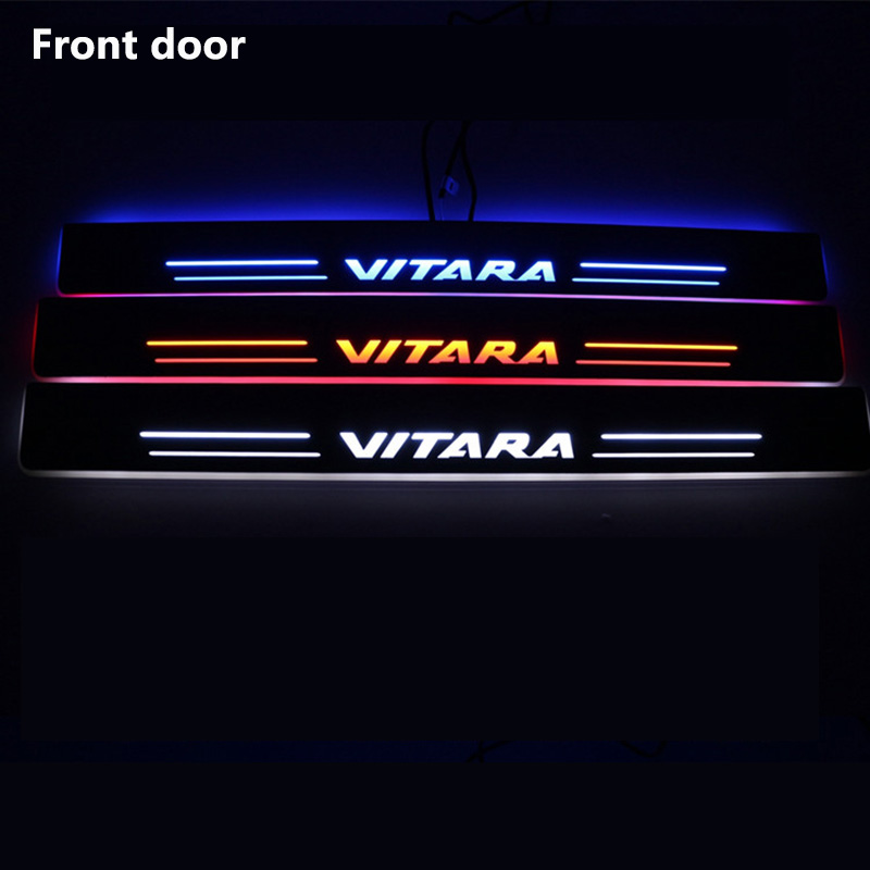For Suzuki Vitara 2015 2016 LED Flashing lights Door Scuff Pedal Door Sill Plate Sticker White Red Blue Car Styling Accessories for buick lacrosse excelle gt excelle xt verano light led moving front door scuff sticker sill plate pedal protector styling wh