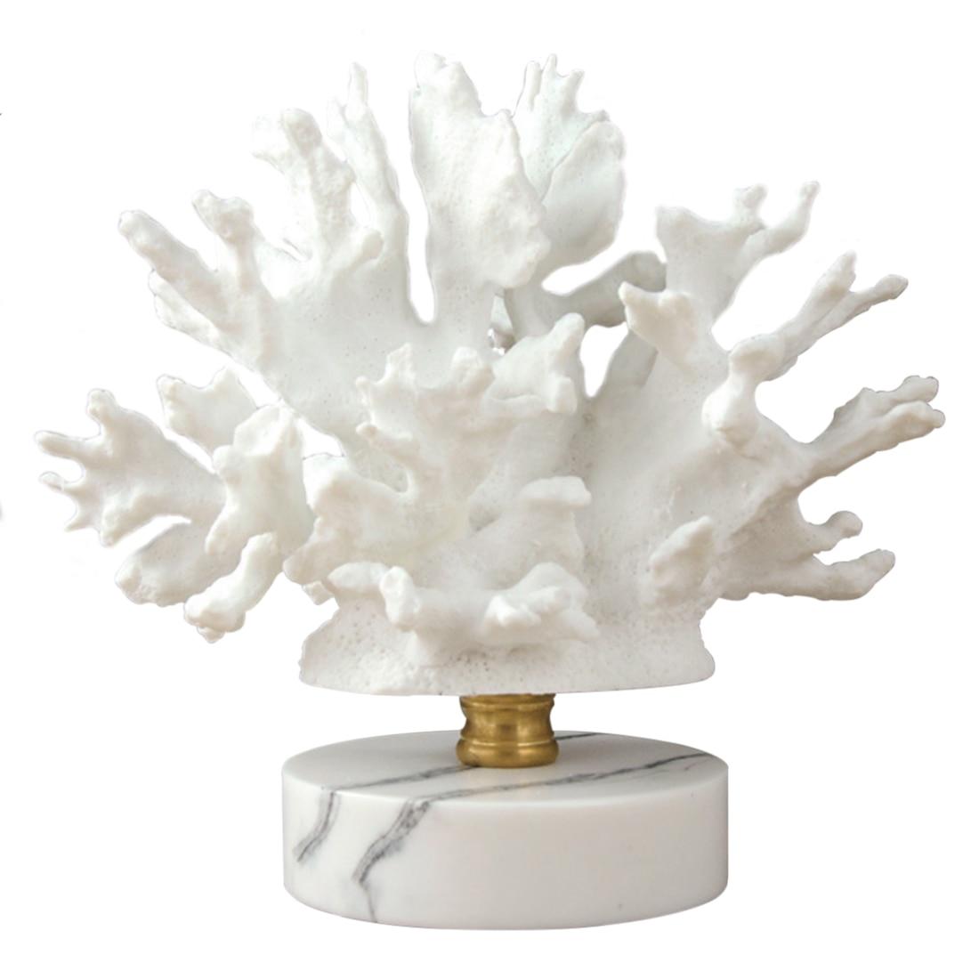 Ornements maison Style nordique corail ornement avec Base en marbre pour la maison café noël chambre décor 2018