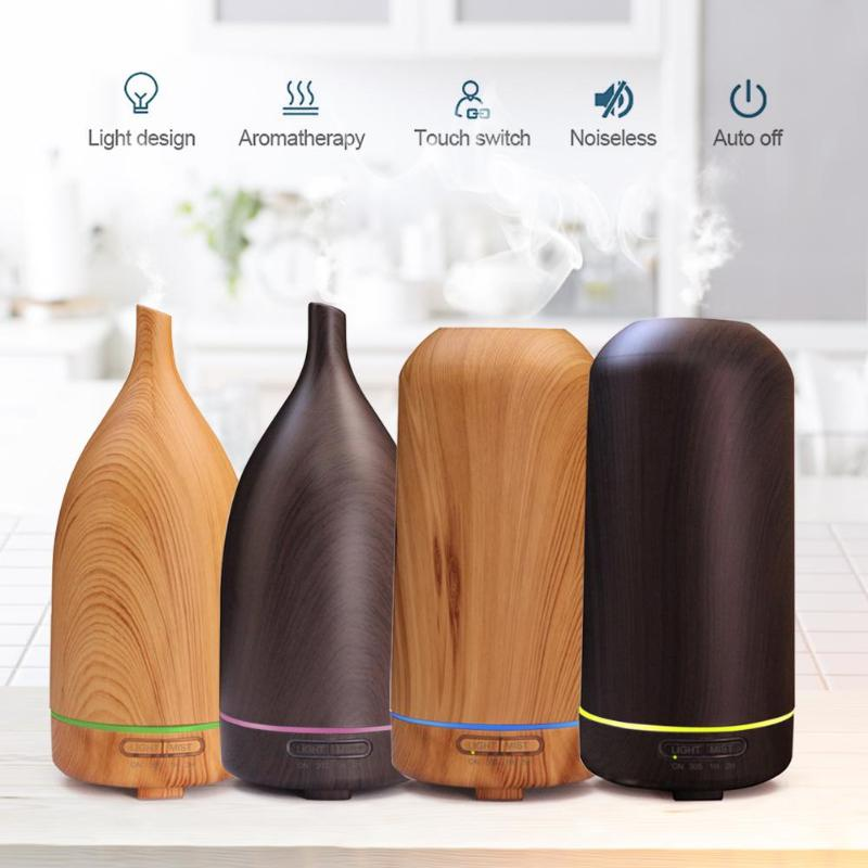 100ml Wood Grain Ultrasonic LED 7 Color Lamp Timer Air Humidifier Essential Oil Aromatherapy Mist Aroma Diffuser for Home Office hot sale humidifier aromatherapy essential oil 100 240v 100ml water capacity 20 30 square meters ultrasonic 12w 13 13 9 5cm