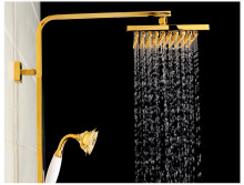 Foyi brand Rainfall shower faucet set with slide bar tub faucet mixer handheld shower wall mount golden finish wall mount adjust height sliding bar shower faucet set wall mount rotate tub spout with soap dish antique brass finish