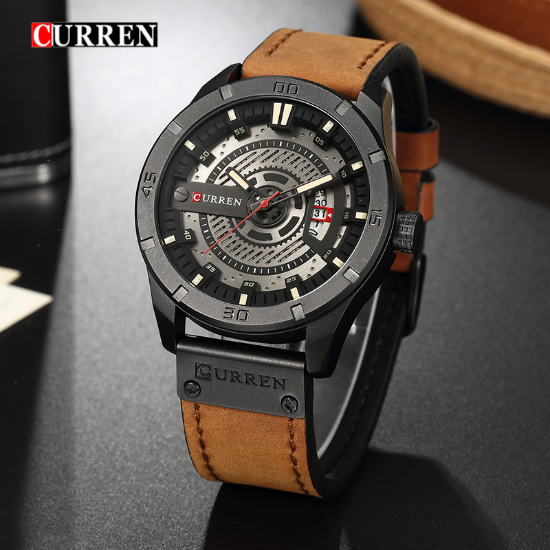 Luxury Men Sports Watches Best Gift for Male 2019 Military Quartz Date Clock CURREN Casual Leather Wrist Watch Relogio Masculino