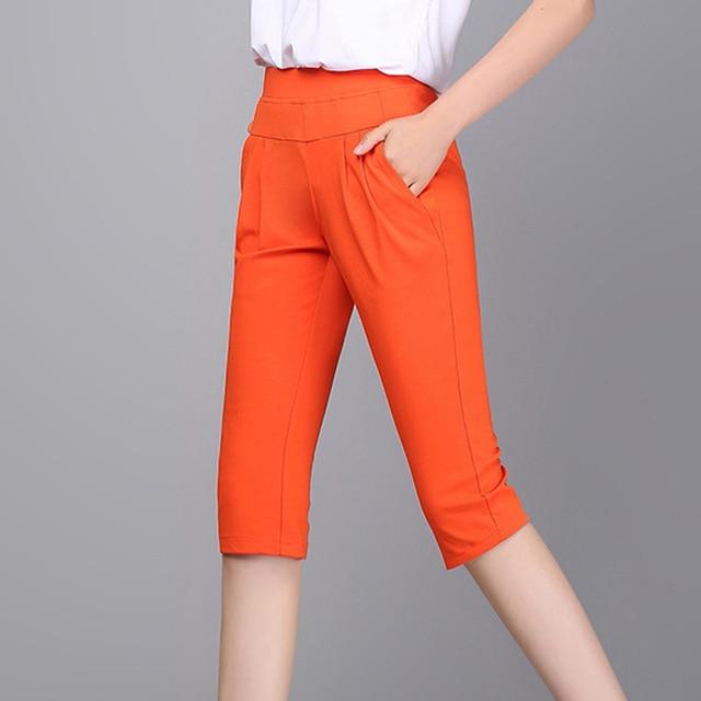 Plus Size S-4XL Harem Pants Women Solid Stretch Calf Length Summer Pencil Pants Casual Pants Capris Trousers 2016 A313