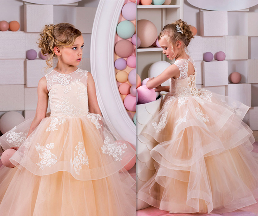все цены на 2017 New High Quality Puffy Flower Girls Dresses for Wedding Lace Up Ruffles Pageant Gown Birthday Dresses First Communion Dress