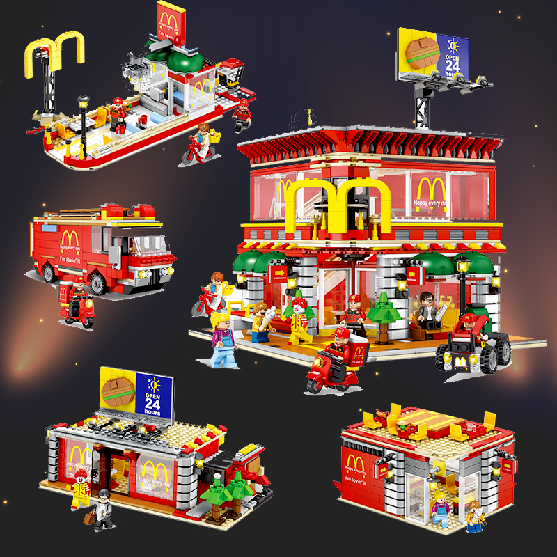 Sembo-Technic-City-Street-View-4in1-McDonaldes-figures-Legoing-creator-Building-Blocks-Bricks-Educational-Diy-Toys