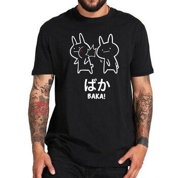 Baka Rabbit Slap T Shirt Anime Japanese Cute Tops Short Sleeve Cotton O-neck Tee Novelty Cute Japan Tshirt EU Size 1