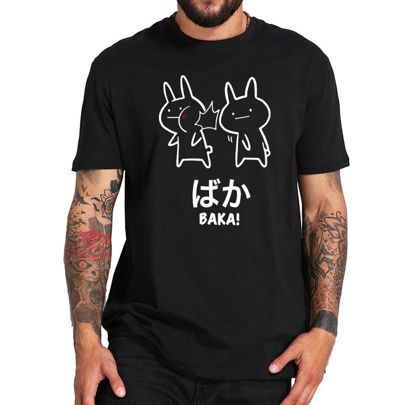 Baka Rabbit Slap T Shirt Anime Japan Funny Tops Short Sleeve Cotton O-neck Tee Novelty Japanese T-shirt EU Size