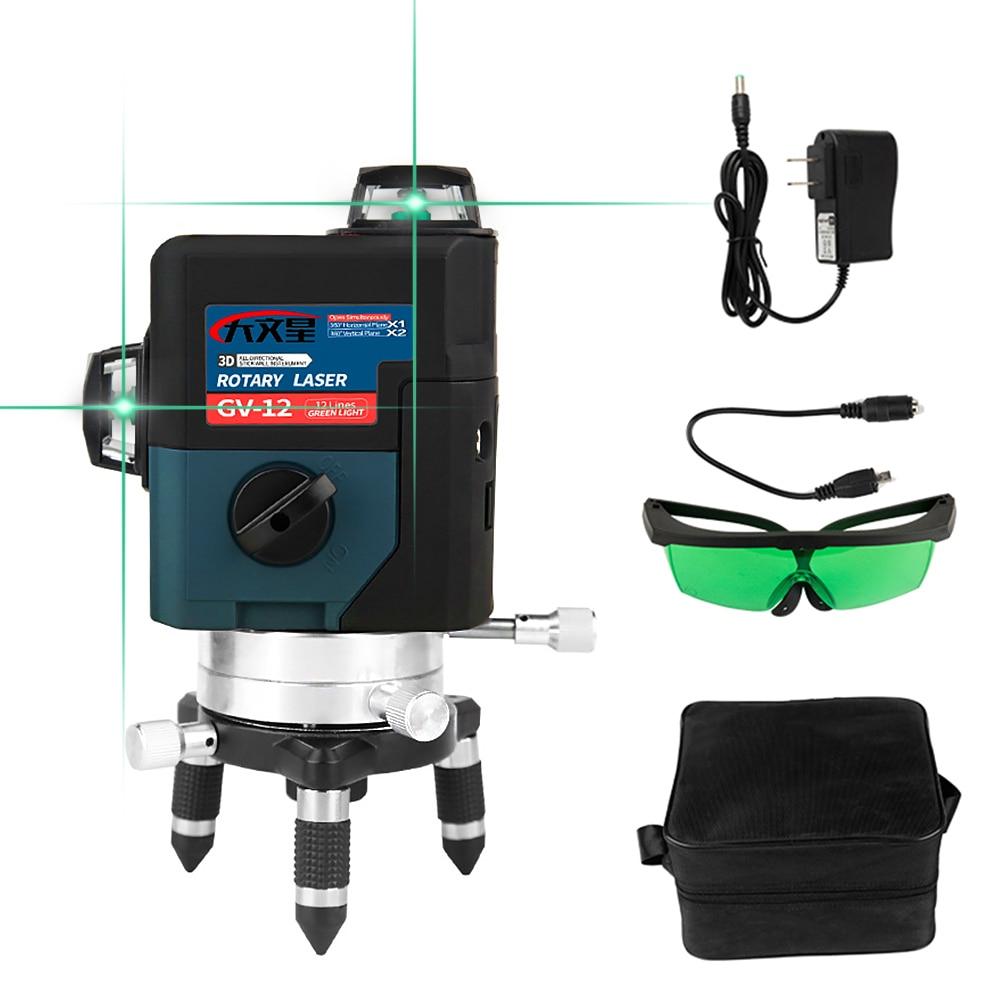 Linha 12 3D Livella Profissional de Nível Laser Verde Lasers Nivel a Laser de 360 Graus Nível Lazer para ferramentas de construção profissional