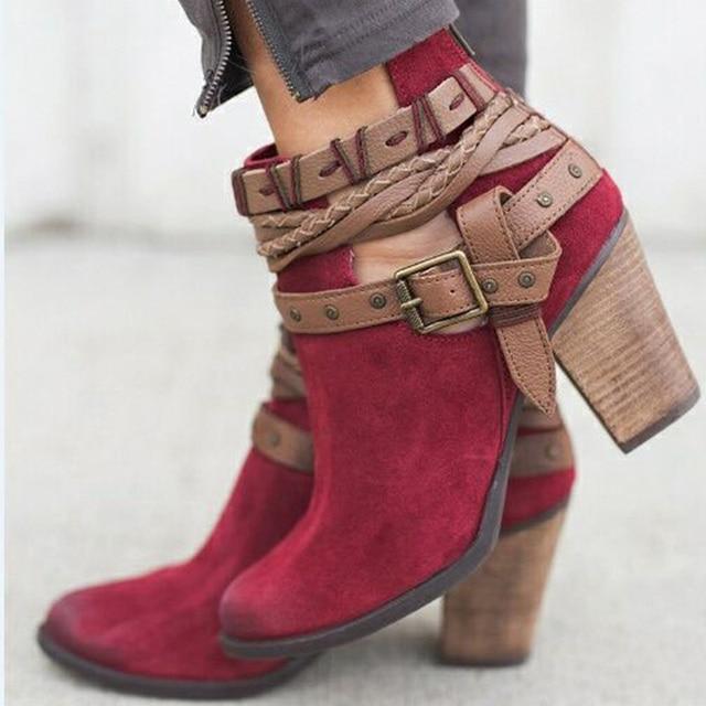 Moda Kadın Çizmeler Bahar Sonbahar Yüksek Topuklu Ayakkabı Için Kadın Perçin Toka Günlük Ayakkabı Martin Kısa Çizmeler PU Deri Ayak Bileği çizmeler