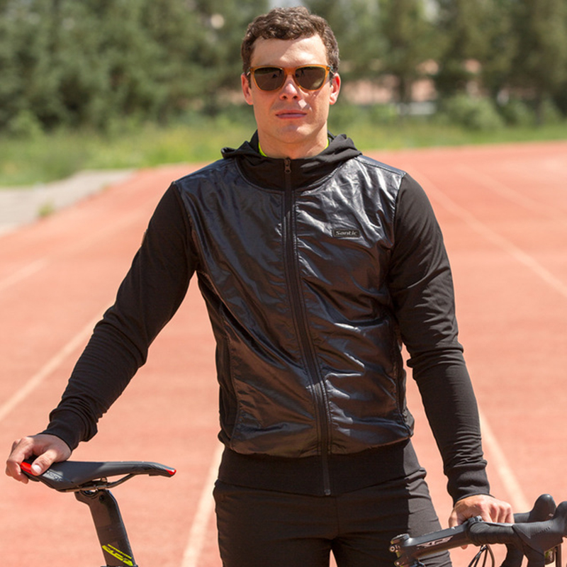 Santic winter Men Windproof Bike Jackets Hooded clothes Fleece Warm Fall Winter Jacket Coat Keep Warm Black Cycling Clothes цена