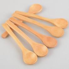 6 Pieces / Lot Mini Wooden Spoon Kitchen Cooking Teaspoon Condiment Utensil Coffee Spoon Kids Ice Cream Tableware Tool P20