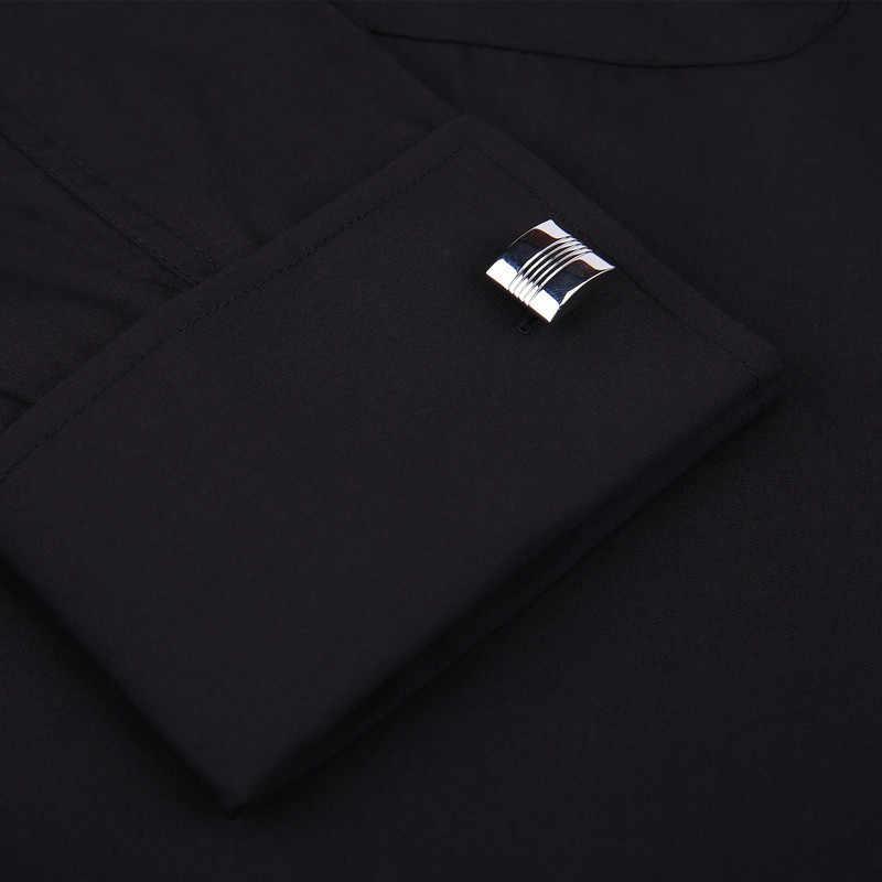 Classic Black French Cufflinks Men's Business Dress Long Sleeve Shirt Lapel Men Social Shirt 4XL 5XL 6XL Routine fit