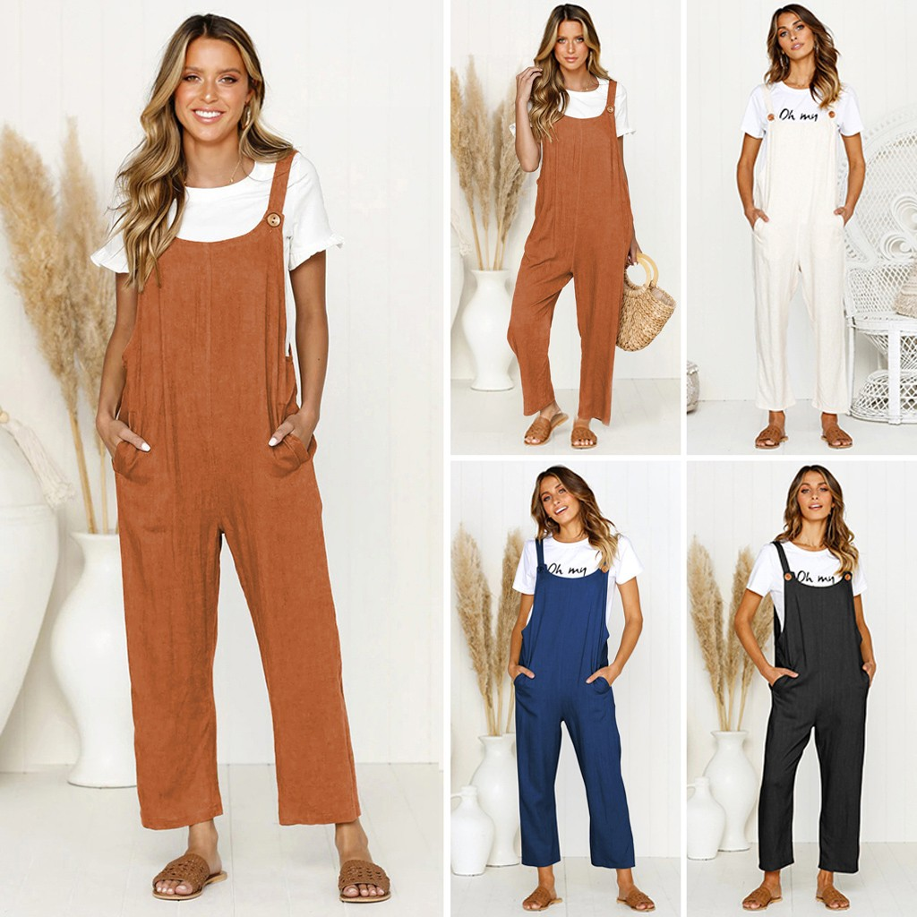 Women's Casual Loose Baggy Pocket Jumpsuit Fashion Playsuit Trousers Overalls jumpsuit women combinaison femme bodys para mujer