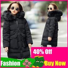 2019 Girls Winter Jackets Children Fashion Fur Collar Hooded Outerwear Coats Girl Thickening Warm Coat Kids Casual Jacket