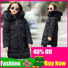 2019 giacche invernali per ragazze moda per bambini collo di pelliccia capispalla con cappuccio cappotti ragazza ispessimento cappotto caldo giacca Casual per bambini