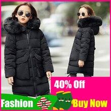 2019 בנות חורף מעילי ילדי אופנה פרווה צווארון ברדס הלבשה עליונה מעילי ילדה מעיל חם עיבוי מזדמן מעיל