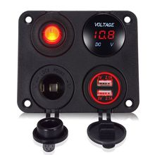 цена на 4 in1 Car Dual USB Charger + Voltage Meter Display + Rocker Switch Cigarette Lighter Power Adapter Sockets Plug Panel