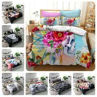 Zombie Skull Bedding Bedclothes Double Bed Set King Size Quilted Bedspread Linen Luxury Housse De Couette Floral F