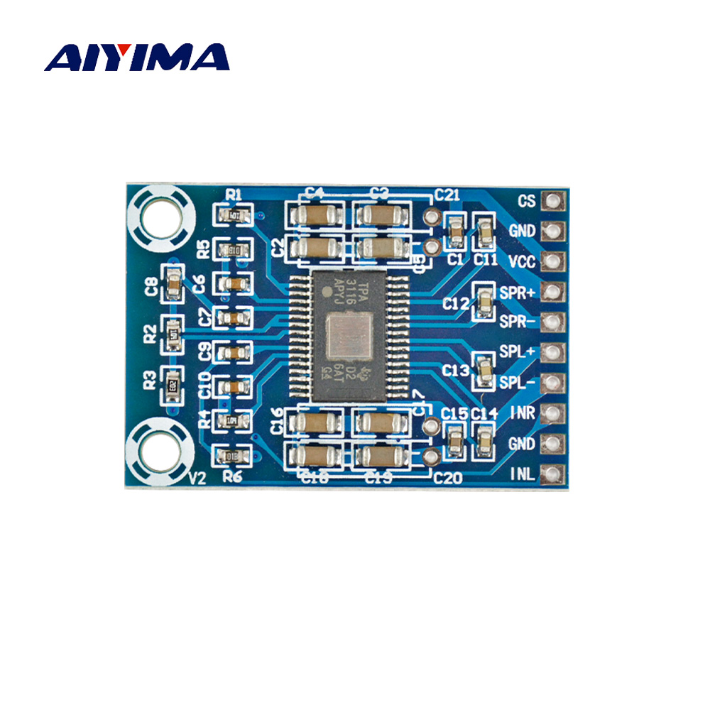 Aiyima Digital Audio Amplifiers Ultimate Edition TPA3116D2 Class D Power Amplifier Board Ultra Thin Double 50W DC 12-24V