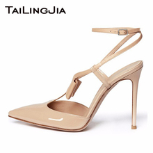 Nude Cute Ankle Strap High Heel Pointed Toe Woman Pumps Buckle Knot Ladies Party Wedding Dress Shoes Large Size Free Shipping handmade christmas green emerald suede sheet leather heel greenery wedding shoes with knot open toe ankle strap d orsay pumps