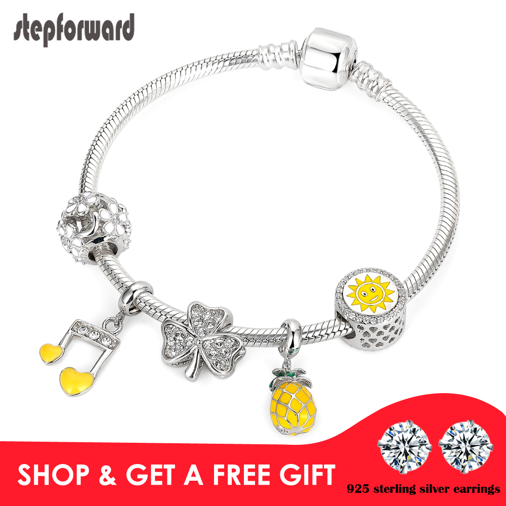 STEP FORWARD Fashion Holiday Yellow Bracelets For Women 100% 925 Sterling Silver Music Note Clover Pineapple Sun Bracelet GiftSTEP FORWARD Fashion Holiday Yellow Bracelets For Women 100% 925 Sterling Silver Music Note Clover Pineapple Sun Bracelet Gift