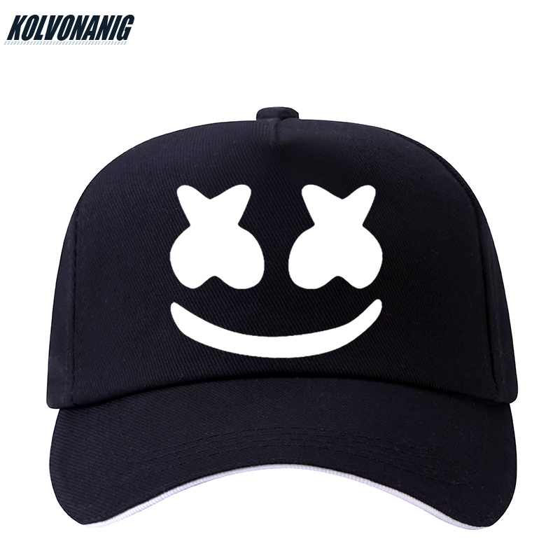 2019 Fashion Punk Style Marshmello Printed   Baseball     Caps   Rock Band Men&Women Streetwear Hip Hop Cotton Boy Outdoor Snapback Hats