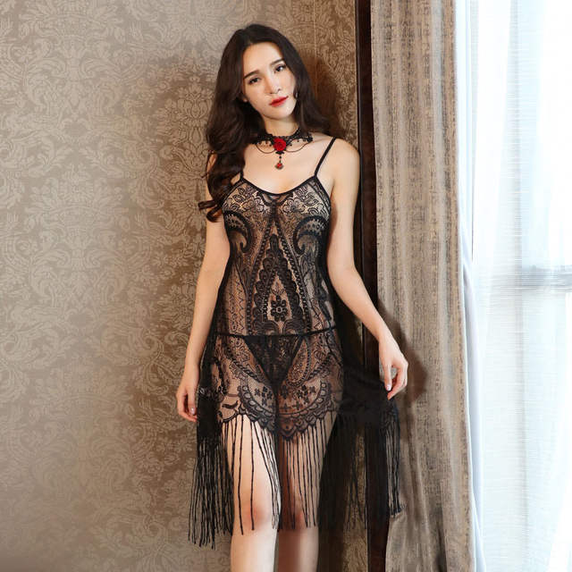 b1a878473f2 Detail Feedback Questions about 2019 New Sexy Lingerie Lace Spaghetti Strap  Nighties Dress Tassel Nightgown Women Nightwear Sleepwear Sleeveless  Dresses ...