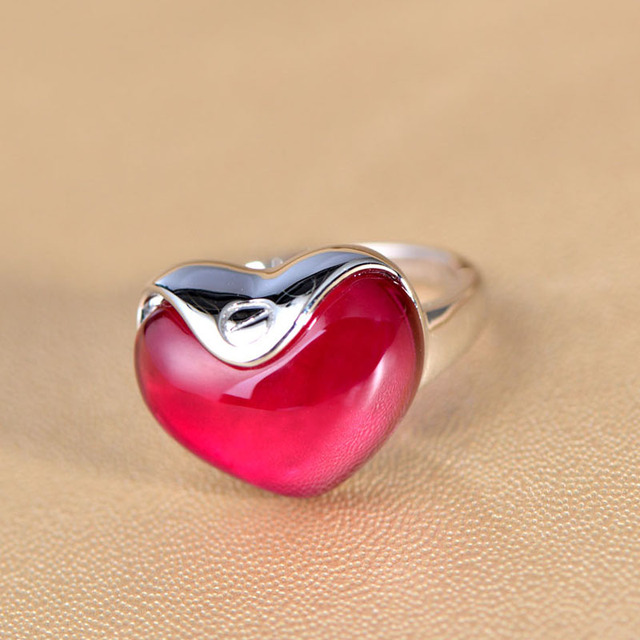 e25693503e 925 Sterling Silver Red Stone heart-shaped ring Valentine Cute Romantic  Rings For Women Gift