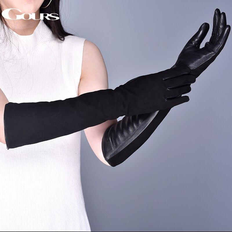 Gours de cuero genuino de las mujeres guantes invierno guantes caliente de gamuza de piel de cabra de pantalla táctil guantes de moda de piel de oveja guantes nuevo GSL080
