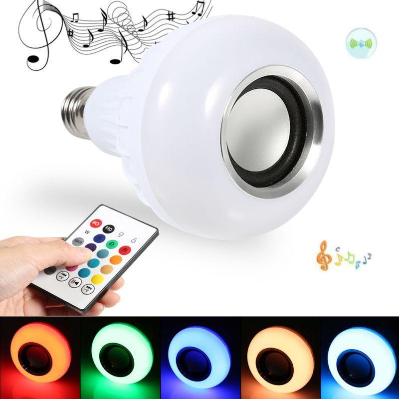 New E27 RGB RGBW Wireless Bluetooth Speaker Bulb Music Playing Dimmable LED Bulb Light Lamp with 24 Keys Remote Control 5W newstyle portable wireless audio bluetooth speaker music playing e27 dimmable led light bulb lamp with rf remote control brightness adjustable and volume up down for smartphones tablets pcs and other bluetooth enabled devices