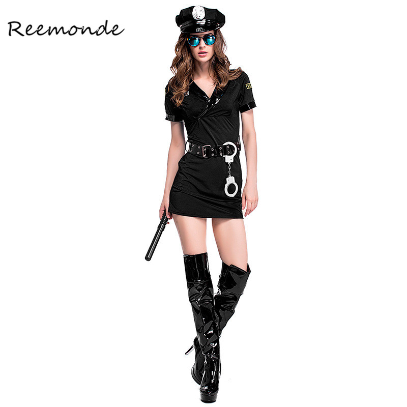 Sexy Black Police Costume Women Policewoman Uniform Cosplay Costumes Halloween Carnival Fancy Dress Uniform Party Christmas
