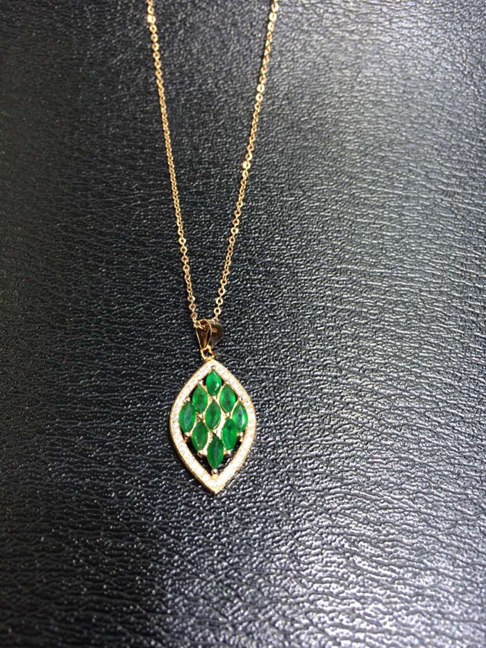 gold emerald pendant cabochon necklaces natural bezel pendants k set made yellow hand oval