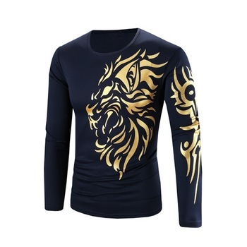 Men Long Sleeve T Shirt Dragons Print Slim Fit Tops