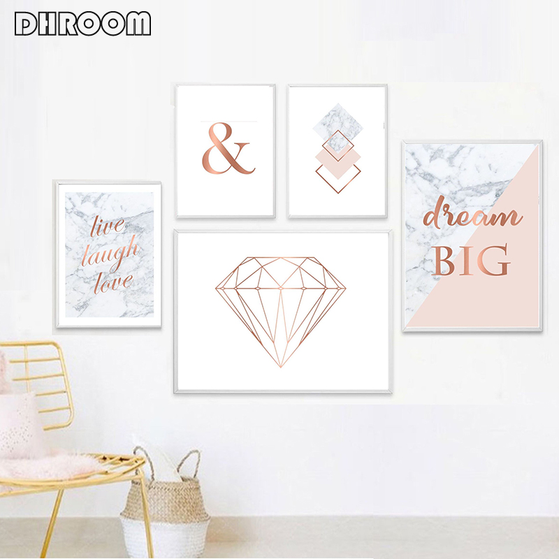 Pink Marble Posters And Prints Gray Rose Gold Canva Art Painting Ampersand Diamond Wall Art Modern Wall Pictures For Living Room