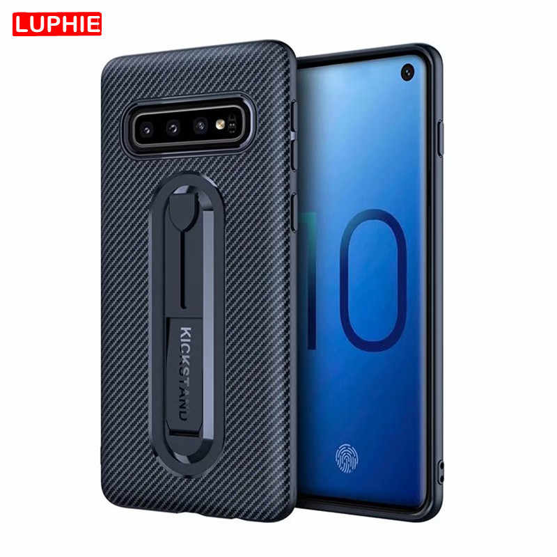 LUPHIE Carbon Fiber Silicone Cover for Samsung S10 S9 S8 Plus S10e S7 A6S A7 A8 A9 2018 Soft TPU Armor Shockproof Phone Case