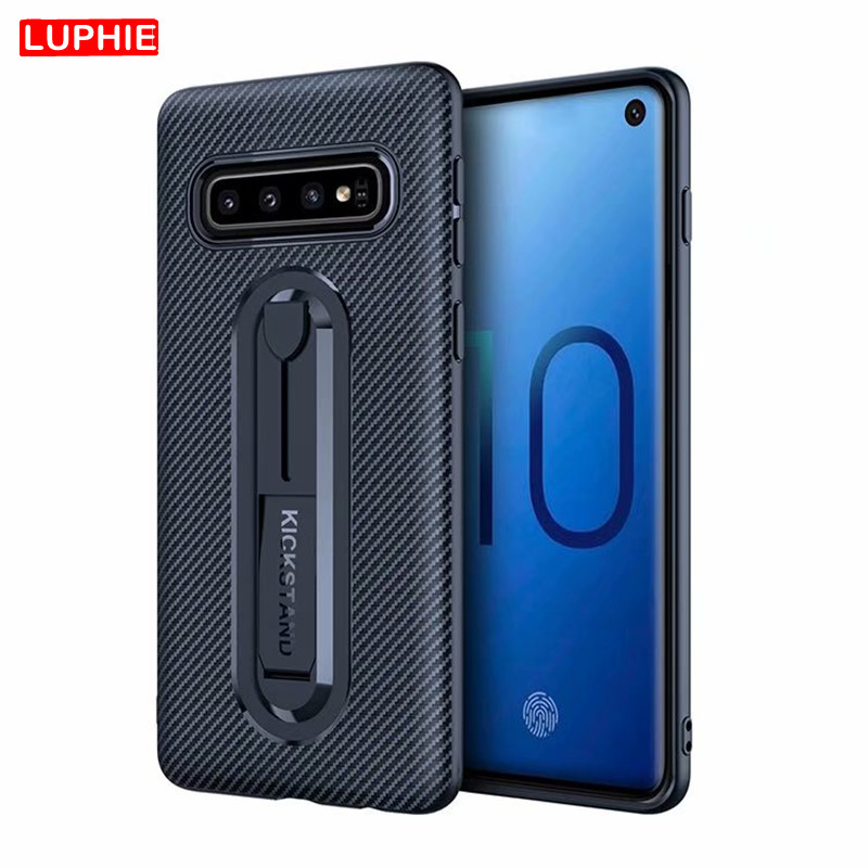 LUPHIE Carbon Fiber Silicone Cover for <font><b>Samsung</b></font> S10 S9 S8 Plus S10e <font><b>S7</b></font> A6S A7 A8 A9 2018 Soft TPU Armor Shockproof <font><b>Phone</b></font> <font><b>Case</b></font> image