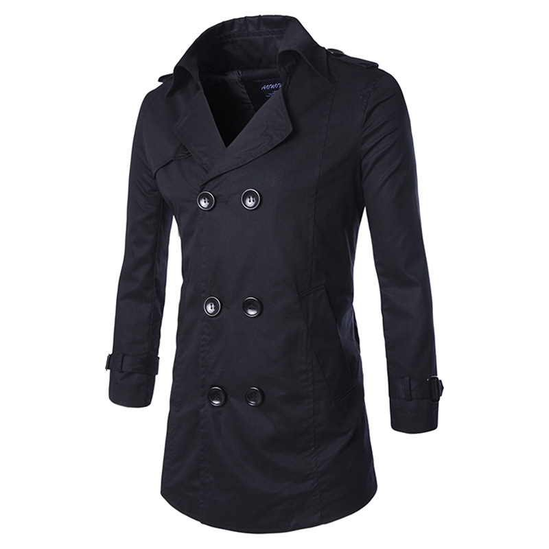 New Black Trench Coat Men 2017 Mens Fashion Double Breasted Windbreaker Overcoat Jacket With Sashes Casual Long Trench Coat