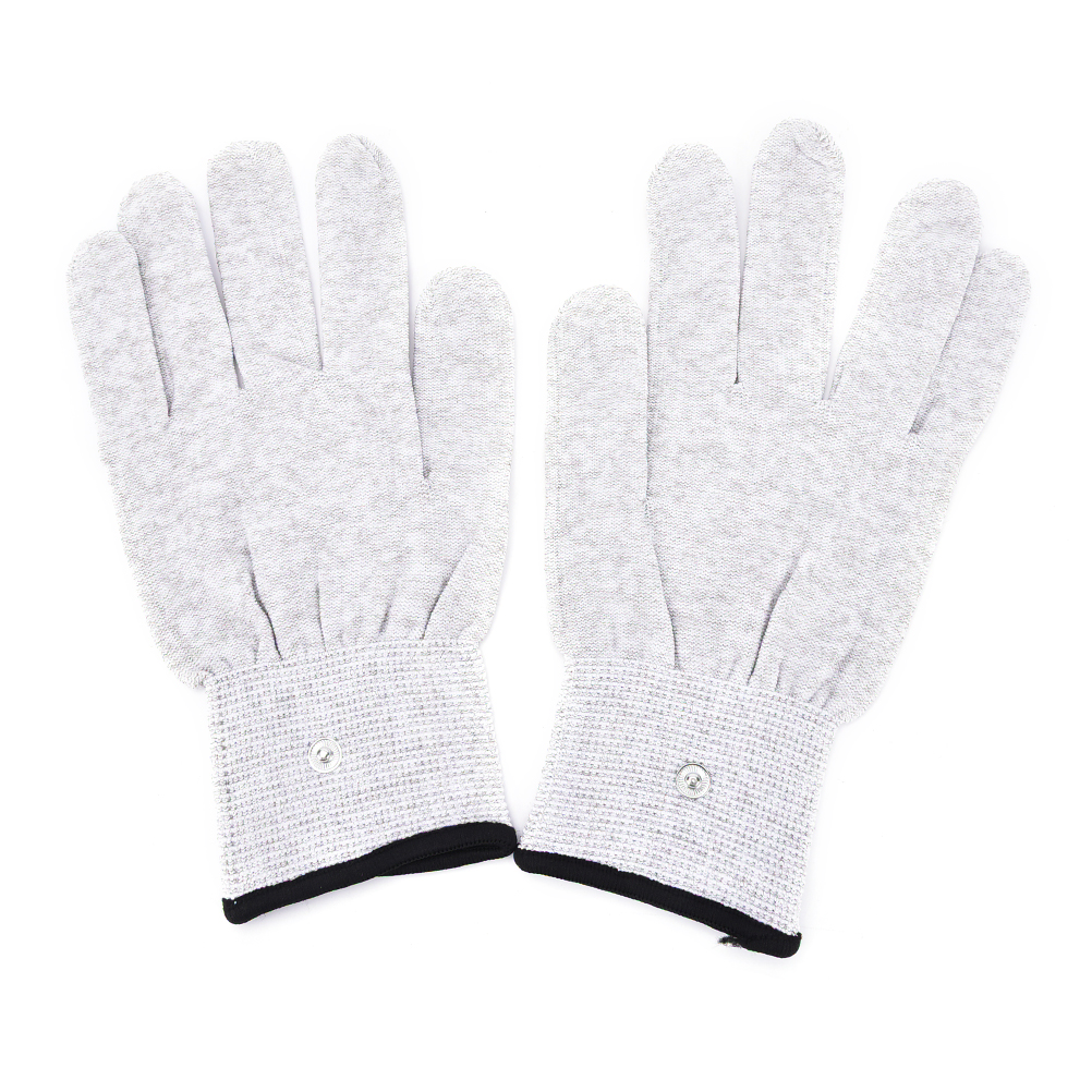 Black gloves white magic - 1pair Magic Pulse Massage Gloves Silver Fiber Conductive Electrotherapy Massage Electrode Gloves Use For Tens Machine