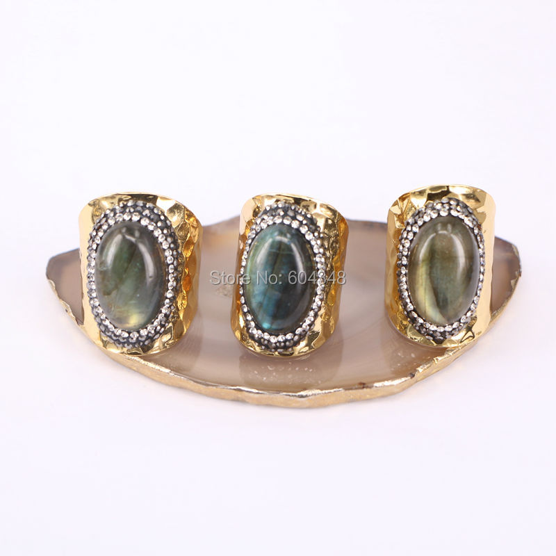 5pcs Natural Labradorite Stone Ring
