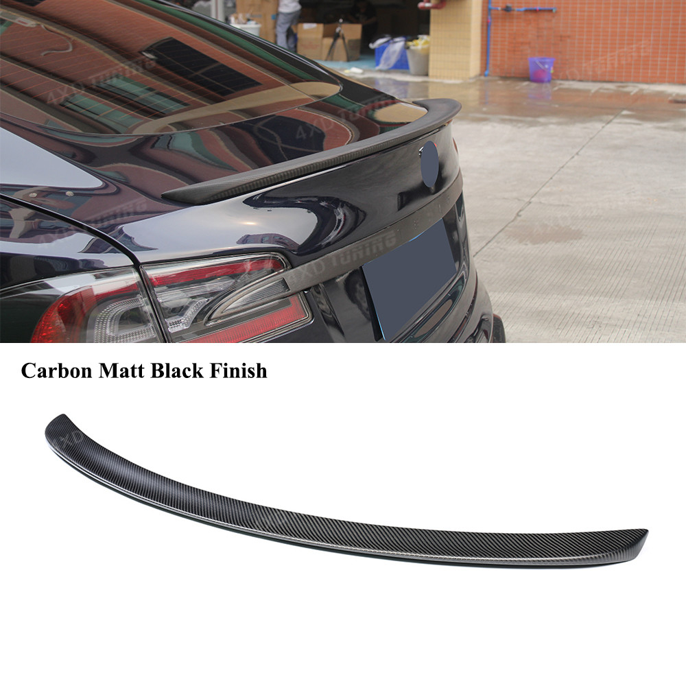 Matt Black Finish For Tesla Model S Carbon Fiber Rear Spoiler Car Rear Bumper Trunk Wing Spoiler styling model S spoiler 2012-UP цена