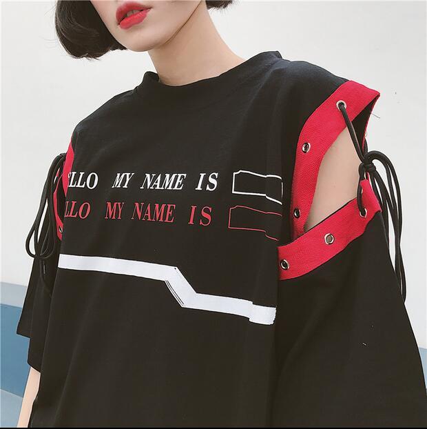 Woman Shirt Top Summer Korean Ulzzang Harajuku BF Patchwork Bandage Novelty T shirt For Women Long