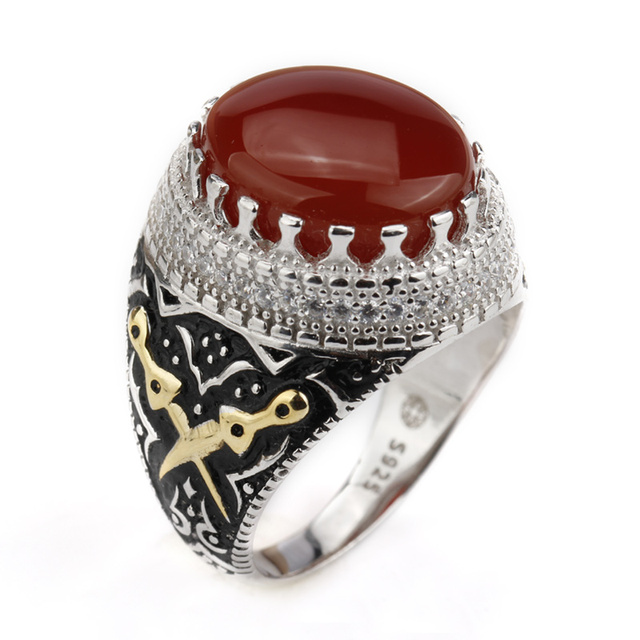 2018 Men Ring Real 925 Sterling Silver Red Agate Big Stone Ring with Double Swor