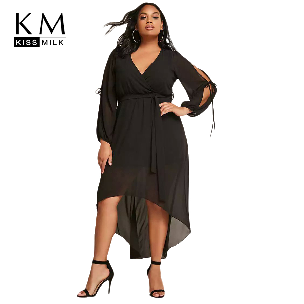 Kissmilk 2018 Plus Size Sexy Lace Up Women Dress Hollow Out Large Size  Irregular V-neck Female Clothing Big Size Lady Dress 484a13552477