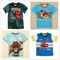 2017 Crianças Meninos Verão Aves Muppet Carros T Caráter camisa Dos Desenhos Animados Da Moda de Manga Curta O-pescoço T-shirt 100% Algodão Roupas