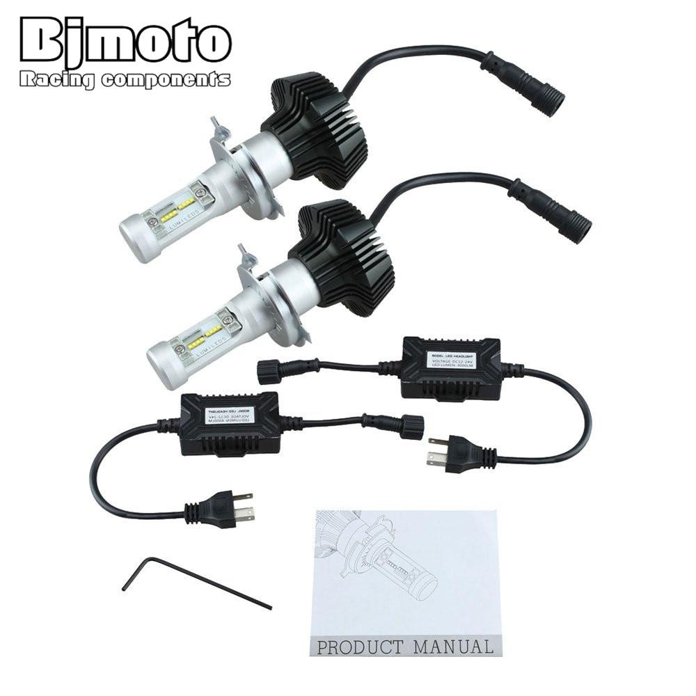Bjmoto Automibles K6 H4 LED Car Headlight Kits HI 48W LO 24W 8000LM Auto Driving Bulbs SUV Truck 6000K head Fog Lamp light