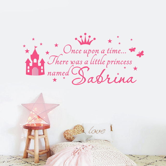 Asapfor Custom Princess Name Decals Wall Sticker For Kids Rooms Baby Nursery S