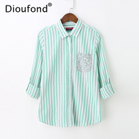 Dioufond Women Sweet Striped Shirts Patchwork Pocket Long Sleeve Turn Down Collar Pleated Blouses Ladies Office