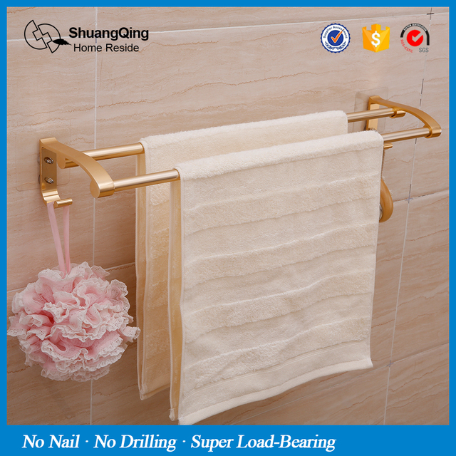 Hardware No Nail Drill Aluminum Towel Two Bar Kitchen Bath Holder Bathroom Hanger